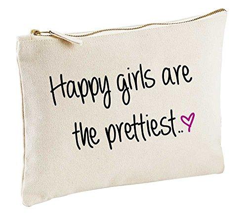 Le plus heureux Filles sont le plus jolie Naturel Make Up Sac cadeau Idée cadeau Trousse de toilette