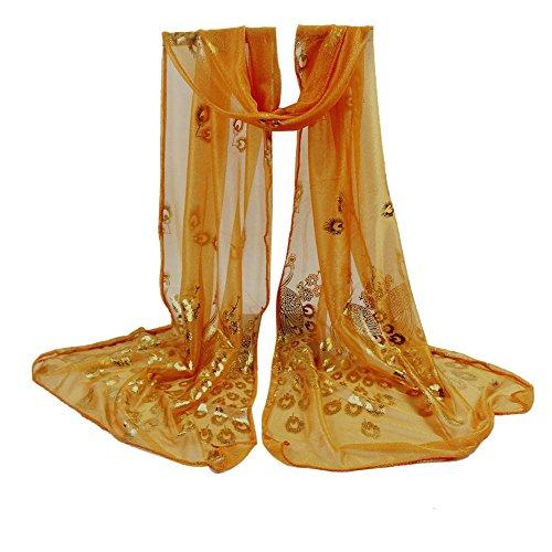 BHYDRY Schal Zartes Damen Retro Einfarbig Elegant Pfau Weiche UmschlagtüCher Frauen Langer Wraps Schals KostüM Accessoires Geschenk