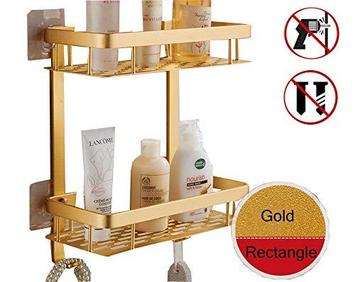 CHENYU Badezimmerregal, Selbsthaftend, 2 Ablagen, Eckregal, aluminium, Duschregal/-korb für Handtuch, Produkte, Organizer mit Haken, Badezimmerzubehör, dreieckig, 2 Ablagen, gold, Rectangle 2-Tier