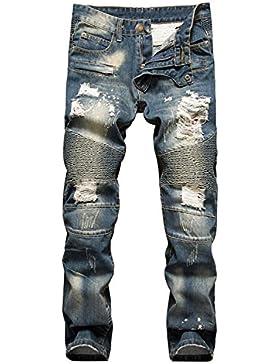 AIYINO Herren Jeanshose Biker Destroyed Look Jeans Hose Denim 5 Style