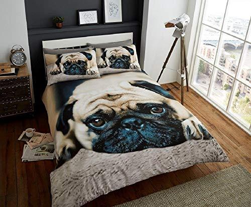 Deluxe Beddings bedrucktes 3D-Bettwäscheset mit Mops-Motiv, Poly-Baumwoll-Bettbezug, Steppdecke, Kissenbezüge, Bettwäscheset, Multi-Einzel-, Doppel- und King-Size-Bett, Polycotton, multi, Doppelbett
