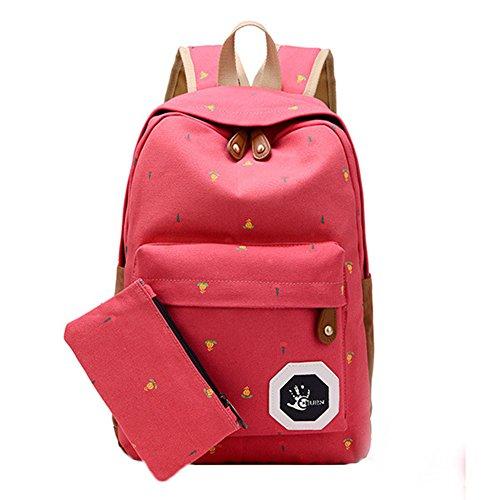 outflower Zaino Cartella fiori grande capacità ragazze/studente borsa a tracolla moda semplice rosso rosso