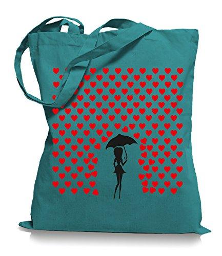 Ma2ca® Heart Rain - Jutebeutel Stoffbeutel Tragetasche / Bag WM101 Emerald