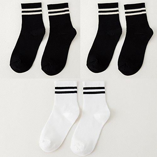 Socken weibliche koreanische Version des Barrel Socken aus reiner Baumwolle socken Herbst und Winter College Baseball Fan, das Licht des Tages der storehouse Socken Socken, alle Code, zwei Bars und 2 Schwarz 1 weiß und 3 2