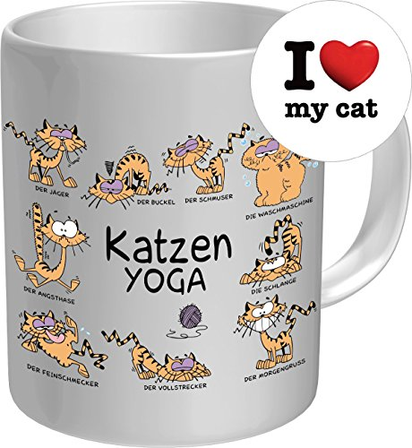 2610 Geburtstag Geschenke-Set Katze: KATZEN YOGA Premium Geschenk Fischen FischTasse Keramik, Original RAHMENLOS® in Geschenkbox + Button I love my cat