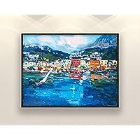 Capri Painting on Canvas Original Italy Amalfi Coast Seascape Home Decor Large Wall Art Gift
