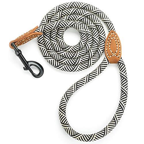 Mile High Life Leder Tailor Griff Klettern Hund Seil Leine mit Schweren Pflicht Metall Stabile Schließe (4/5/6Füße), 5 FT, Weiß -