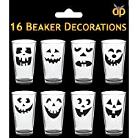 16x Halloween Cup/ Glass Sticker Decoration- Pumpkin Faces