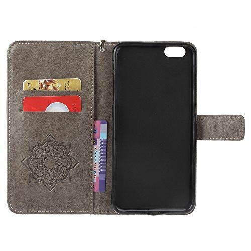 iPhone 6 (4.7 Zoll) Wallet Case für Apple iPhone 6 Flip Hülle Laoke Eule Blumen Muster Handyhülle Schutzhülle PU Leder Case Skin Brieftasche Ledertasche Tasche im Bookstyle in +Staubstecker (11) 11