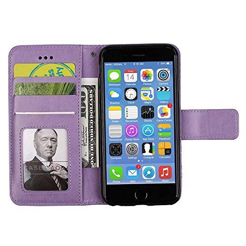 Custodia IPhone 5, ESSTORE-EU Custodia in Pelle con Slot per Schede, Stile Libro, Custodia Portafoglio per IPhone 5 con Funzione di Supporto e Chiusura Magnetica, Nero Viola