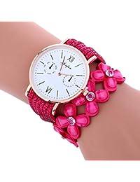 igemy campanillas de la moda gran Dial Diamond pulsera de piel Lady mujer reloj de pulsera, color hot pink