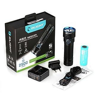 OLIGHT R50 Seeker Taschenlampe Max. 2500 Lumen mit Cree XLamp XHP50 LED und Micro-USB-Ladeanschluss - Wiederaufladbar, Schwarz