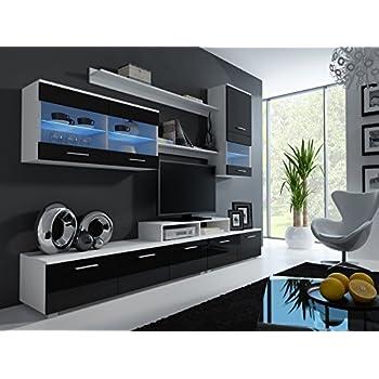 Wohnwand LOGO II Mit LED Beleuchtung Anbauwand Wohnzimmer Mbel Weiss Schwarz Hochglanz