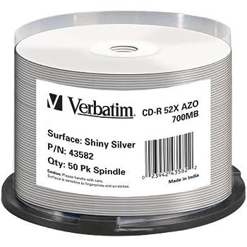 Verbatim CD-R Super AZO 52x 700MB CD-Rohlinge Shiny Silber 50er Spindel