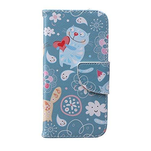 Ukayfe Custodia portafoglio / wallet / libro in pelle per Apple iphone 6 Plus /6S Plus (5.5 pollice ) - Cover elegante e di alta qualità con porta carte di credito e banconote Stampa creativa e cinghi Carino fumetto gatto