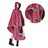 Homme femme Cape de pluie Etanche Poncho Anti-pluie à Capuche Epais Vêtement Manteau Imperméable Raincoat EVA Environnement avec Miroir Motif Point pour Camping ScooterVélo Moto Marche Travailler