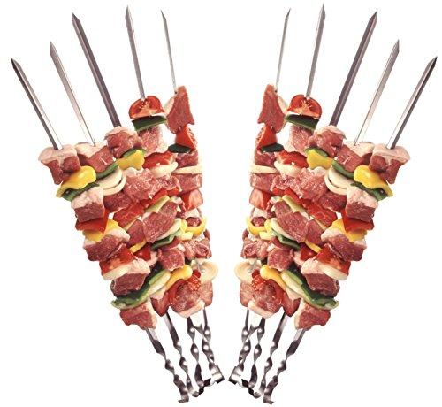 24 Grillspieße Schaschlikspieße aus Edelstahl 60cm | Fleischspieße für BBQ & Grill | Kebab Spieße | Schampura für Mangal von STAR-LINE®