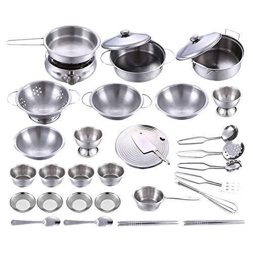 Gusspower Juego Utensilios de Cocina y Comida de Juguete para Niños y Niñas Ollas y Cacerolas de Imitación Acero Inoxidable Accesorios de Cocina Infantil ( 32 Piezas)