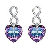 EVER FAITH 925 CZ de plata esterlina Figura 8 Pendientes de corazón de infinito con cristales púrpura de Vitrail de Swarovski