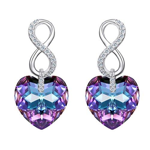 Ever faith-orecchini donna con argento figura 8 infinito cuore ciondola gli orecchini con vitrail light viola cristalli da swarovski