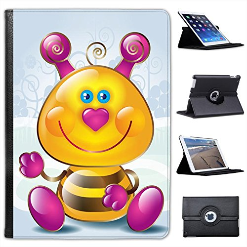 Cute Bombo con naso a cuore rosa Custodia a Libro in finta pelle con funzione di supporto per i modelli Apple iPad nero Cute Pink Heart Nose Bumble Bee iPad Air