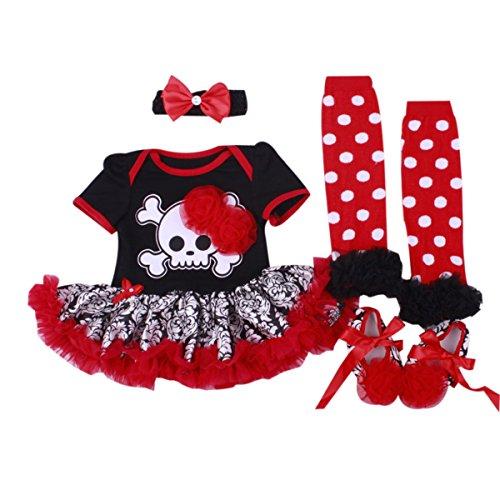 Marlegard® 4pcs da bambina halloween teschio rosso vestito fascia scarpe scaldamuscoli red  mesi(6-9 mesi)