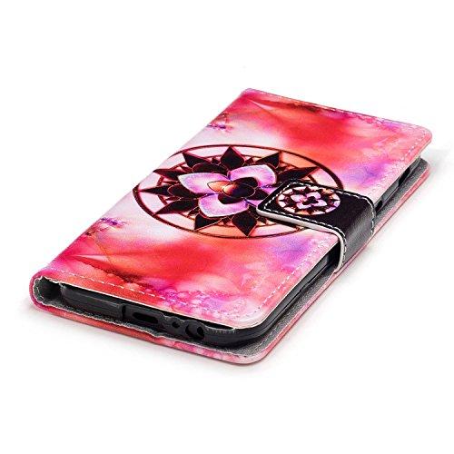 Linvei Samsung Galaxy A5(2017) Etui Cuir Coque,[Conception de motif coloré][PU Cuir Housse][Portefeuille Flip][Stand soutien/Card Slot /fermeture magnétique]-Plante tropicale verte Mandala flower