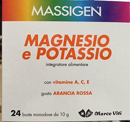 Massigen magnesio e potassio con vitamina a c e gusto arancia rossa 24 buste