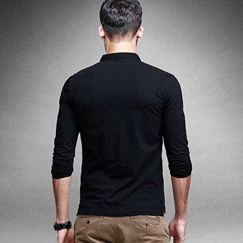 BOMOVO Herren Hemd Longsleeve Langarmshirt prima Top Shirt Schwarz