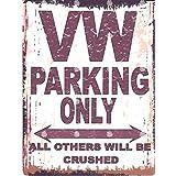 20,3x 25,4cm VW Parking Sign Retro Vintage Style 20,3x 25,4cm voiture Abri de jardin en métal 20x 25cm garage atelier art mural
