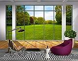 Fototapete 3D Effekt Tapete Balkon Fenster, Grünland Baum Landschaft Im Vliestapete 3D Wallpaper Moderne Wanddeko Wandbilder