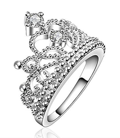Beydodo Womens Princess Crown Rings Tiara Infinity White Gold Plated Rhinestone Statement Ring Size P 1/2