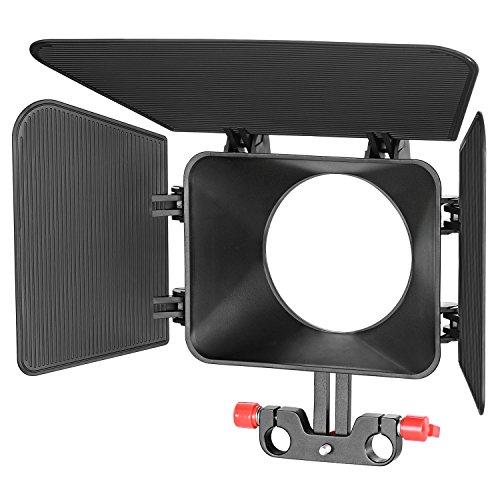Neewer Kunststoff 15mm Schienen Stangen Matte Box für Canon Nikon Sony Fujifilm Olympus Panasonic DSLR-Kamera, Camcorder Video Film Film machen System (rot) Dv-matte Box