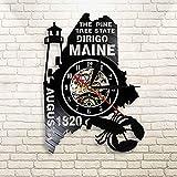 Pine State Dirigo Maine costruisce orologio da parete in vinile 1820 Country Cottage Decorazione per paese Lampada per illuminazione a led con luce mappa