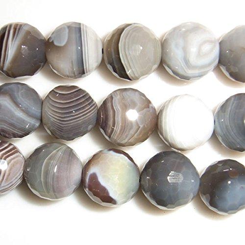 Thetastejewelry 12 mm Coupe ronde Gris Perles d'agate de Madagascar 38,1 cm 38 cm Bijoux Collier Healing