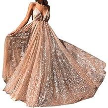 finest selection 5830a f4db1 abiti da cerimonia donna lunghi eleganti - Oro - Amazon.it