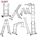 Lifewit Escalera Plegable Ajustable,En 4 Posiciones,Altura 3.8m,Escalera Tijera 3x4 Multifunción,Aleación De Aluminio,Carga Máximo 150 kg
