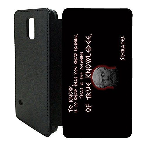 Prominent Berühmt Sprüche Handy Tasche Klapphülle für Samsung Galaxy - T100 - Echtes Knowledge Socrates - T2345, Samsung Galaxy S6 Edge Plus