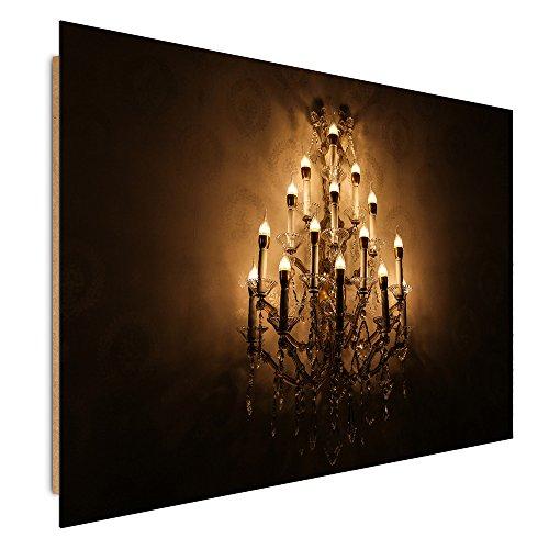Feeby. Wandbilder - 1 Teilig- 30x40 cm - Bilder Kunstdrucke Deko Panel, KRONLEUCHTER, LAMPE, GELB, BRAUN