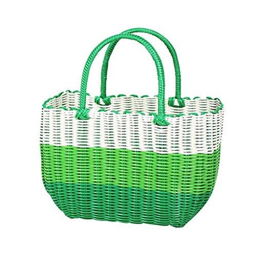 Xuan - worth having Vert et blanc Fabrication artisanale de tissage en plastique Panier à main Bain Le panier Panier Panier de pique-nique Anti-corrosion ( taille : 26*12*18cm )