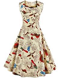 GenialES 50s Retro Hepburn Estilo Vestido Mujer Rockabilly Dress
