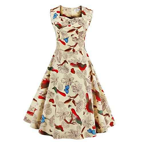 GenialES-50s-Retro-Hepburn-Estilo-Vestido-Estampado-Floral-para-Mujer-Rockabilly-Dress-Albaricoque-Talla-S