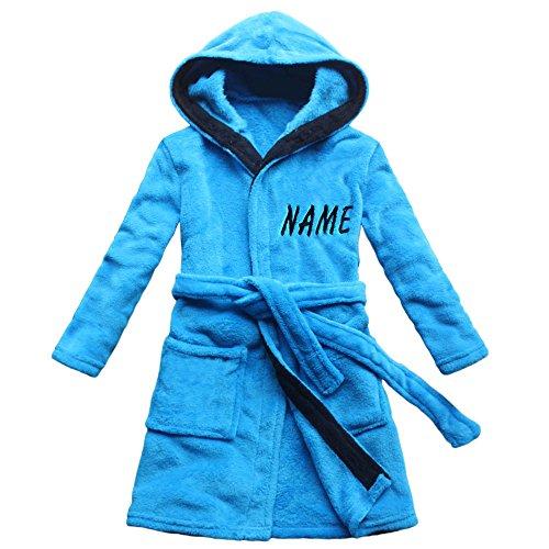 FEETOO [Nom brodé] Robe de Bain pour Enfants Bleu Velours de Corail Chemise de Nuit garçon Chaud (12, Bleu)