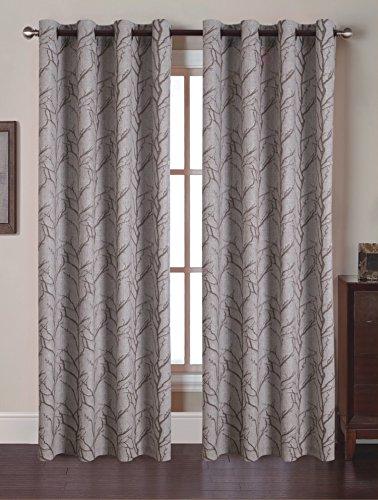 ELEGANCE Bettwäsche ® Luxuriöser Hohe Gewicht Jacquard Fenster Vorhang Panel Set 137,2x 213,4cm (Set von 2) Bedruckt braun