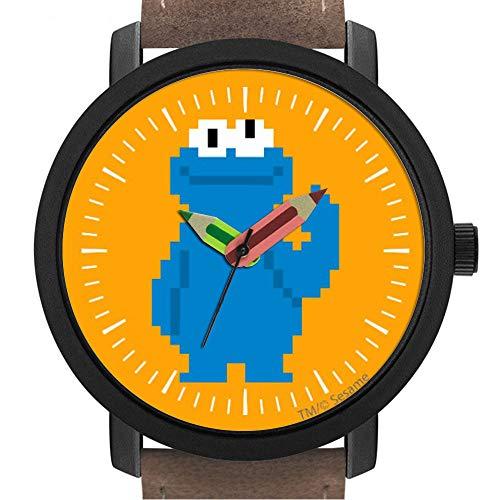 Geschenk für Erwachsene | Kinder | Geburtstag | Stilvolle niedliche Armbanduhr mit Bleistift Form Pointer Ornament Geschenk 089.Cookie Monster Pixel Art (Erwachsene Cookie Monster)