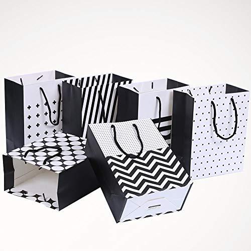 ToBeIT 12 STK Geschenktasche Geschenkbeutel Geschenktüte - Papiertüten mit Griffen für Geburtstag, Hochzeit,Weihnachten, und Gastgeschenke Größe 23cm x18cm x 10cm