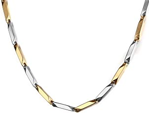 Nakabh Silver Gold Two Tone Italian Stainless Steel Chain Necklace For Men Boys