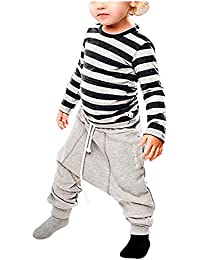 Covermason Niño Manga larga Rayas camiseta Tops y Haren Pantalones (1 conjunto)