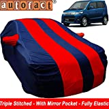 Autofact Car Body Cover for Maruti Wagon r / Wagonr (Mirror Pocket , Premium Fabric , Triple Stiched , Fully Elastic , Red / Blue Color)