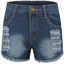 ZKOO Pantalones Cortos del Cordón del Dril de Algodón de Los Pantalones Cortos Flacos Vaqueros Shorts de Mezclilla
